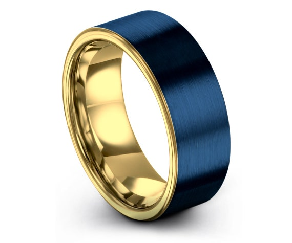 Men's Tungsten Wedding Band, Perfect Wedding Band, 18K Gold Anniversary Ring, Promise Ring, Flat Blue Ring, Gifts, Fathers Day Gift