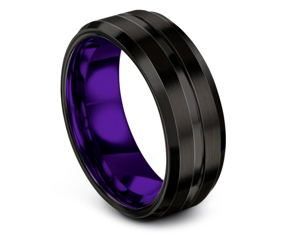 Custom Tungsten Ring Purple,8mm Beveled Black Tungsten Wedding Band,Center Brushed Engraving With One Of King,Couple Ring Set,Customize Ring