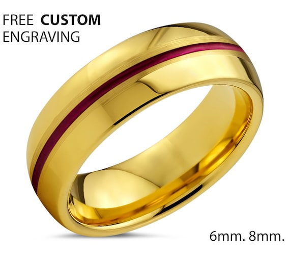 Unique 18k Yellow Gold with Red Center Line Dome Wedding Ring | Free Custom Engraving | Perfect Gift Idea | Free Shipping