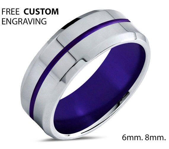 Unique Purple Line Unisex Wedding Band For Men & Women |Perfect Gift for Dad or Mom |Engagement Ring |Personalized Promise Ring 6mm 8mm