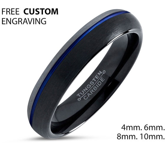 Blue Offset Line Black Unisex Wedding Band Brushed Silver, 4mm Tungsten Ring, Wedding Ring, Engagement Ring, Promise Ring, Perfect Gift Idea