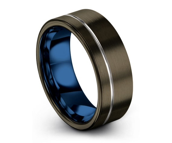 Blue and Silver Tungsten Carbide Wedding Band with Silver Offset Line, Unisex 8mm Width, Durable Custom Ring, Free Engraving, Free Shipping