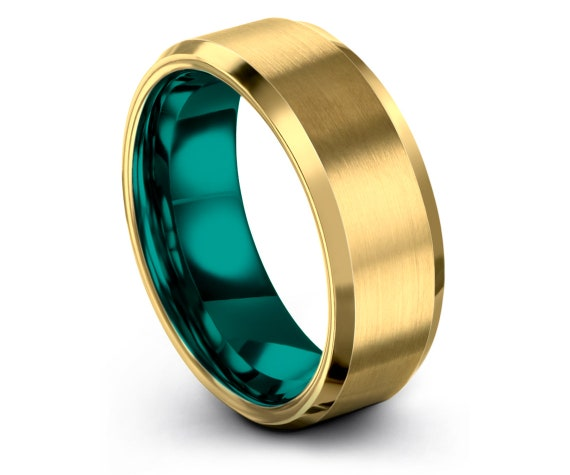 Gold Wedding Ring  | Teal Beveled Tungsten Band | His and Hers Rings | Mens 18K Yellow Gold Rings | Christmas Gifts | Engagement Rings
