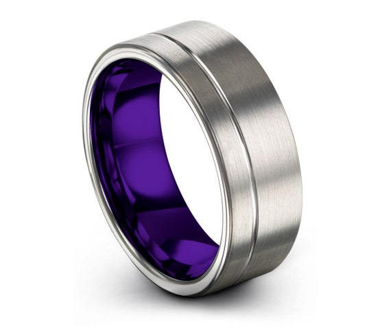 Mens Wedding Band Purple, Tungsten Ring Silver, Wedding Ring 8mm, Engagement Ring, Promise Ring, Personalized Ring, Rings for Men, Mens Ring