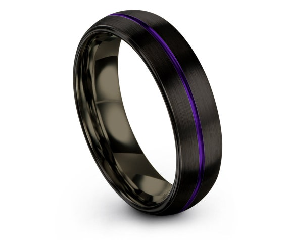 Luxury Domed Wedding Band | Matching Ring For Couple | Mens Gunmetal Ring | Purple Line Engraving | Wedding Engagement Ring | Rings for Men