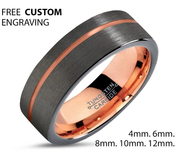 Thin Rose Gold Line Flat Mens Wedding Band, Handmade Personalized Engraving Tungsten Carbide Engagement Jewelry Ring for Him Free Shipping