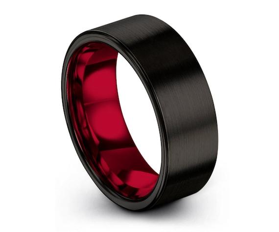 Mens Wedding Band Black, Tungsten Ring Red 8mm, Wedding Ring, Engagement Ring, Promise Ring, Rings for Men, Unique Ring, Black Ring