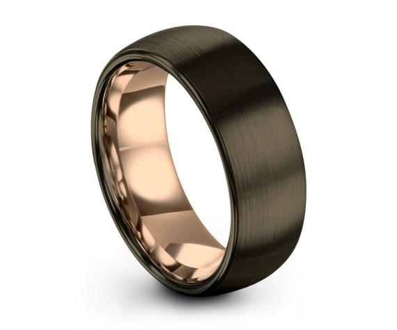 Gunmetal Tungsten Wedding Band,Rose Gold Tungsten Ring,Men & Women,Grey Tungsten Wedding Band,Anniversary Ring Brush Polish Finish