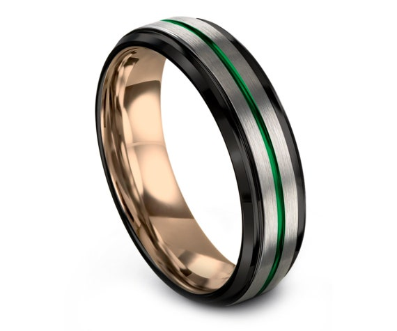 Beveled Silver Tungsten Wedding Band | Tungsten Carbide Ring | Black and Rose Gold Band | Promise Ring | Green Engraving | All Size 4-15