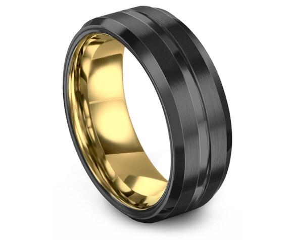 Gunmetal Tungsten Wedding Band   Modern Wedding Band   Yellow Gold Engagement Ring    Adjustable Ring   Couple Ring Set   Custom Engraving