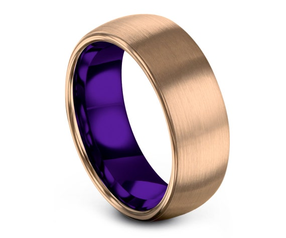 Brushed Tungsten Wedding Band, Purple Tungsten Ring Band, Domed Tungsten Band, Tungsten Engagement Ring, Gifts For Him, His and Hers, 8MM