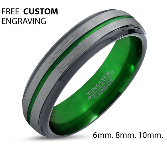 Green Line Unisex Wedding Band With Green Interior, 8mm Tungsten Ring, Wedding Ring, Engagement Ring, Promise Ring, Personalized, Gift Idea