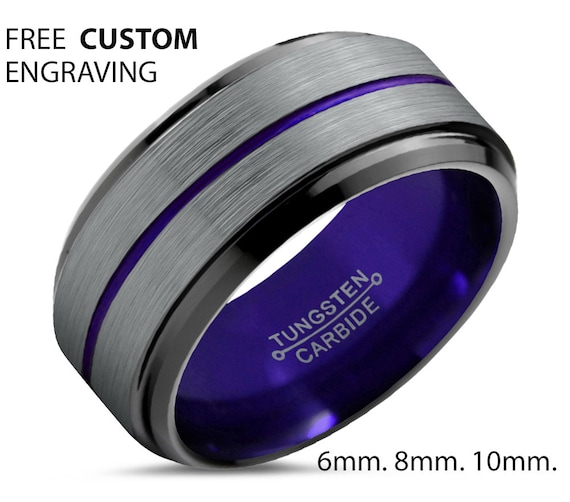 Unisex Brushed Silver Wedding Band with Black Edges - Tungsten Ring with Purple Center Line and Interior - Personalized Jewelry for Him/Her