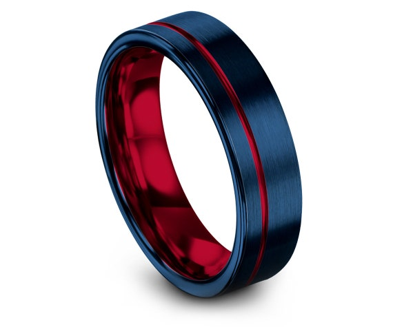 Mens Gifts, Flat Tungsten Band, Offset Wedding Band, Red Inside with Blue Brushed, Tungsten Carbide Ring, Red Line Engraving, Gift For Her