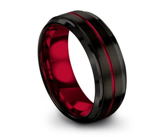 Unique Red Line Mens Wedding Band With Red Interior |Perfect Gift for Dad or Mom |Engagement Ring |Personalized Promise Ring