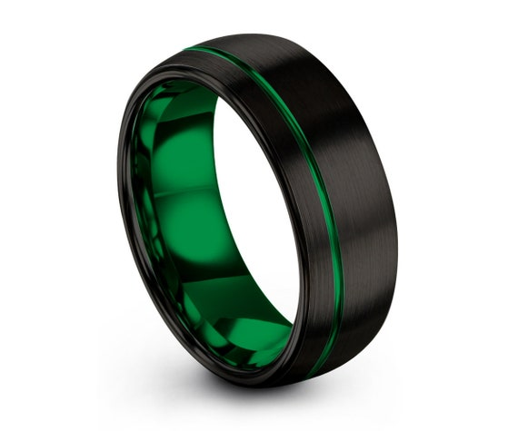 Tungsten Ring Green, Mens Wedding Band Black 8mm, Wedding Ring, Engagement Ring, Promise Ring, Rings for Men, Mens Ring, Black Ring