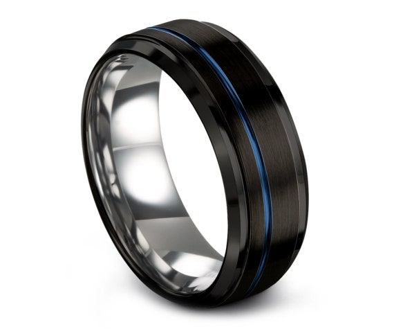His and Hers Wedding Ring Set Black, Unisex Wedding Band, Offset Line Engraving Blue 8mm, Promise Ring, Engagement Ring, Best Friend Gifts