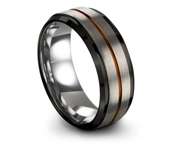 Minimalist Wedding Band Tungsten | His and Hers Wedding Bands | Black and Silver | Copper Tungsten Ring 8mm | Unique Ring | Center Engraving