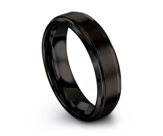 Mens Wedding Band, Tungsten Ring Black 6mm, Wedding Ring, Engagement Ring, Promise Ring, Rings for Men, Rings for Women, Simple Ring