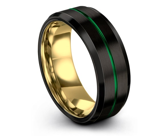 Men's Tungsten Wedding Band, Yellow Gold Wedding Band, Black Green Tungsten Carbide Ring 6mm, His and Hers, Gifts for Him, Size 7 Ring