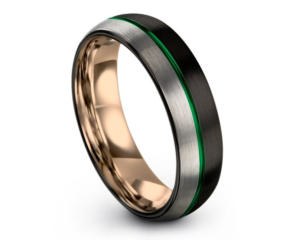 Black Silver Wedding Band | Rose Gold Wedding Band Women | Green Tungsten Carbide Ring | Center Enraving Ring | 6mm 8mm | Free Shipping