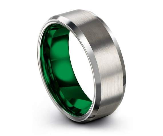 Mens Wedding Band Brushed Silver, Tungsten Wedding Ring 8mm Green, Engagement Ring, Promise Ring, Rings for Men, Rings for Women