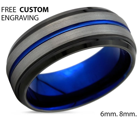 Mens Wedding Band Blue, Brushed Silver Wedding Ring, Tungsten Ring, Engagement Ring, Promise Ring, Personalized Ring, Gifts for Him