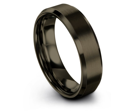 GUNMETAL Tungsten Ring,Beveled Wedding Band Tungsten Carbide 6mm,Infinity Jewelry,Promise Ring,Engagement Ring,Personalized Gift,All Size