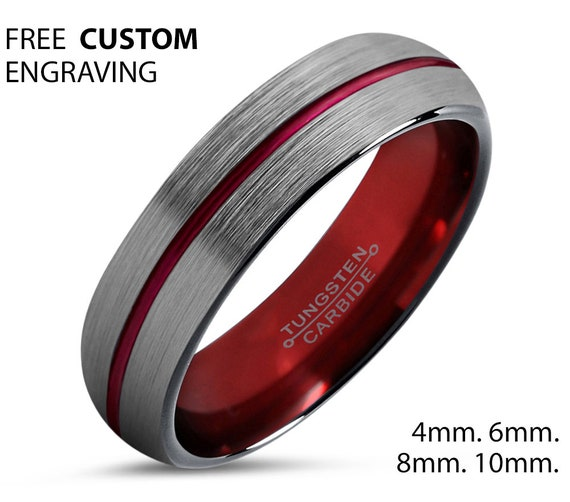Mens Wedding Band Thin Red Line, Silver Tungsten Ring, Wedding Ring 4mm, Engagement Ring, Promise Ring, Rings for Men, Personalized Ring