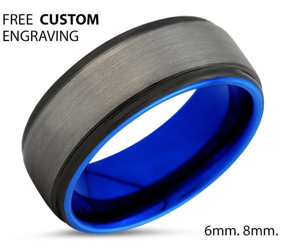 Personalized Blue Tungsten Ring - Wedding Band, Engagement Ring, Promise Ring - Free Custom Engraving