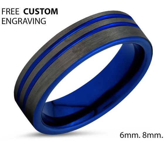 Double Line Brushed Blue Wedding Band Ring 6mm 8mm Width Mens Women Unisex Her Gift Idea Free Shipping Custom Engraving Jewelry Anniversary