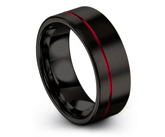 6mm 8mm 10mm Tungsten Wedding Band Ring Black | Gifts For Papa | Offset Red  Line Ring | Tungsten Engagement Ring | Rings For Women