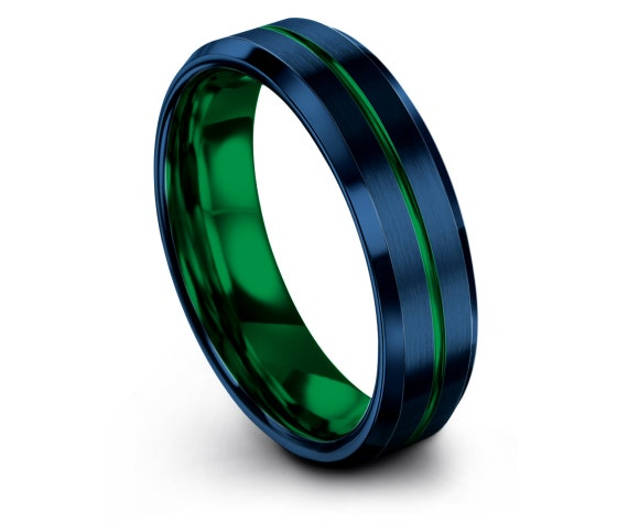 Mens Green Wedding Band | 6mm 8mm Tungsten Carbide Wedding Band | Engraved Ring | Blue Tungsten Ring | Personalized Rings | Gifts for Men