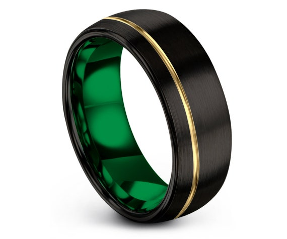 Dark Black Wedding Band | Brushed Yellow Gold Tungsten Ring | Yellow Gold 18K Ring | Gold Ring | Wife Christmas Gift | Wedding Invitations