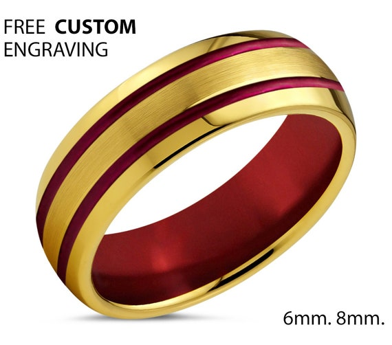 Mens Wedding Band Gold - Unisex Red Tungsten Ring - 18k Yellow Gold Promise Ring - Gift for Mothers Day Fathers Brothers Sisters Him & Her
