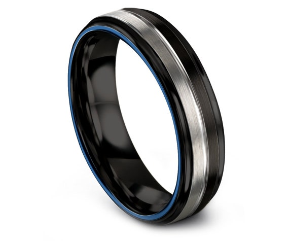 Wedding Band Mens Step Edge With Brushed Black Silver,His and Hers Wedding Bands,Blue Tungsten Band 6MM,Anniversary Ring,Free Engraving