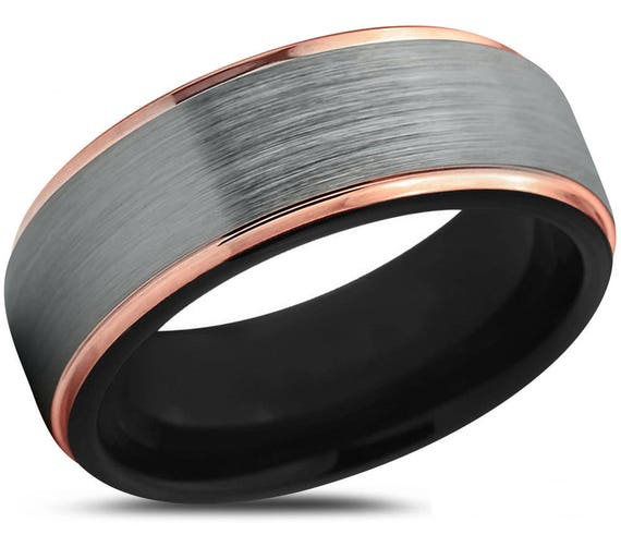 Mens Wedding Band Brushed Silver, Black & Rose Gold Wedding Ring, Tungsten Ring 8mm 18K, Engagement Ring, Promise Ring, Rings for Men