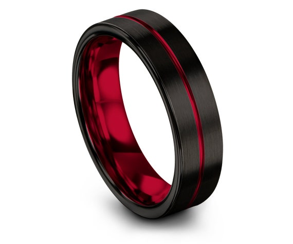 His and Hers Wedding Bands - Tungsten Ring 6mm - Mens Black Ring - Tungsten Carbide Men Ring - Tungsten Engagement Ring - Gifts For Her