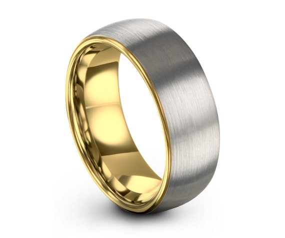Mens Wedding Band, Tungsten Ring Yellow Gold 18K 7mm, Wedding Ring, Engagement Ring, Promise Ring, Rings for Men, Rings for Women, Gold Ring