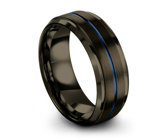 Gunmetal Tungsten Wedding Band Blue Center Line - Promise Ring - Black Ring - Gifts for her, him, Personalized Ring