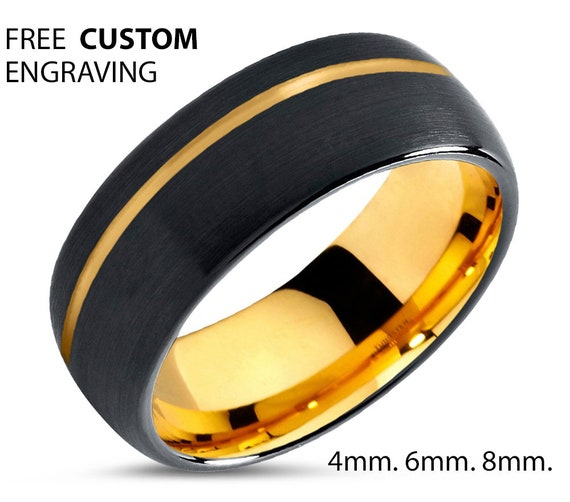 Brushed Gold Black Mens Wedding Band | Tungsten Carbide Ring in Yellow 4mm, 6mm, or 8mm available | 18K His or Her with Fast Free Shipping