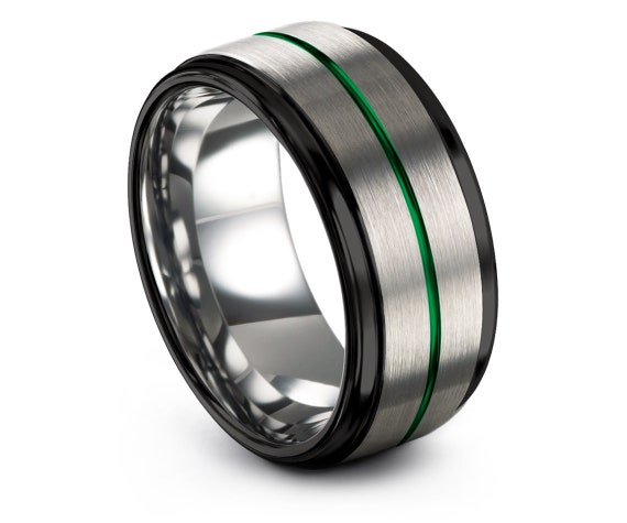 Best Friend Gifts,His and Her,Wedding Band Set,Silver Tungsten Carbide Ring,Black Band For Men,Thin Line Green Engraving,All Size Available
