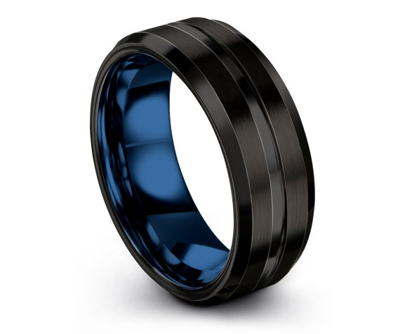 Personalized Jewelry,Black and Blue, Wedding Band Tungsten,His and Hers Wedding Rings, Engraved Ring, 8mm Tungsten Band, Promise Ring