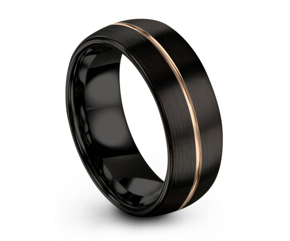 Mens Wedding Band Black, Rose Gold Wedding Ring, Tungsten Ring 8mm 18K, Engagement Ring, Promise Ring, Rings for Men, Rings for Women