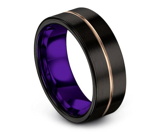 Promise Ring, 8mm Flat Cut Black Tungsten Wedding Band, Tungsten Ring Women, Mens Purple Ring, Center Line Engraving , Anniversary Ring