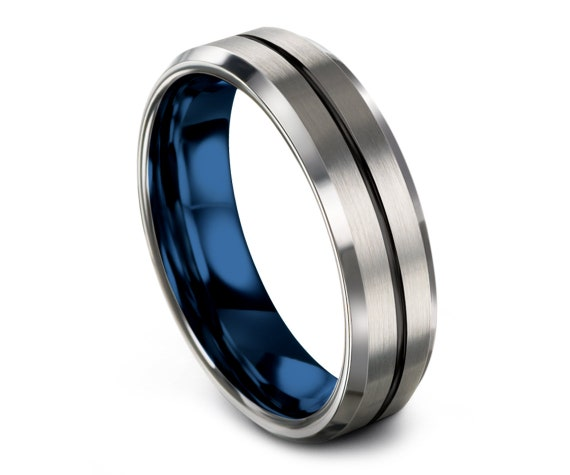 Beveled Tungsten Wedding Band Women Silver | Black and Blue Ring | Center Line Engraving | Collection Of Ring | Comfort Fit | Custom Design