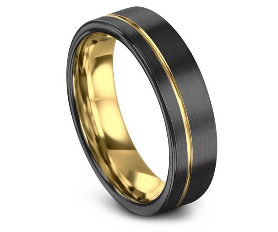 Gold Wedding Band, Brushed Tungsten Ring, Gunmetal, Engagement, Rings for Men, Rings for Women, Anniversary, Wedding, Promise Ring