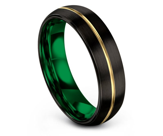 Black Tungsten Wedding Band - Green Engagement Ring Women - Center Line Engraving Yellow Gold - Promise Ring For Him - Gifts - Free Shipping
