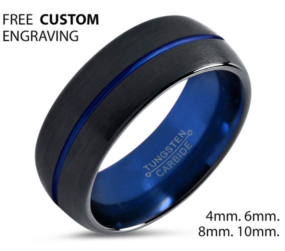 Tungsten Ring Mens Black Blue Wedding Band Tungsten Ring Tungsten Carbide 8mm Tungsten Man Wedding Male Women Anniversary Matching