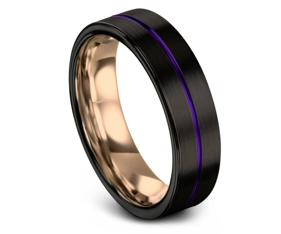 Men's Tungsten Wedding Band   Purple Tungsten Ring Band   Purple and Black Ring   Flat Comfort Fit Band   4mm.   6mm.   8mm.   10mm.